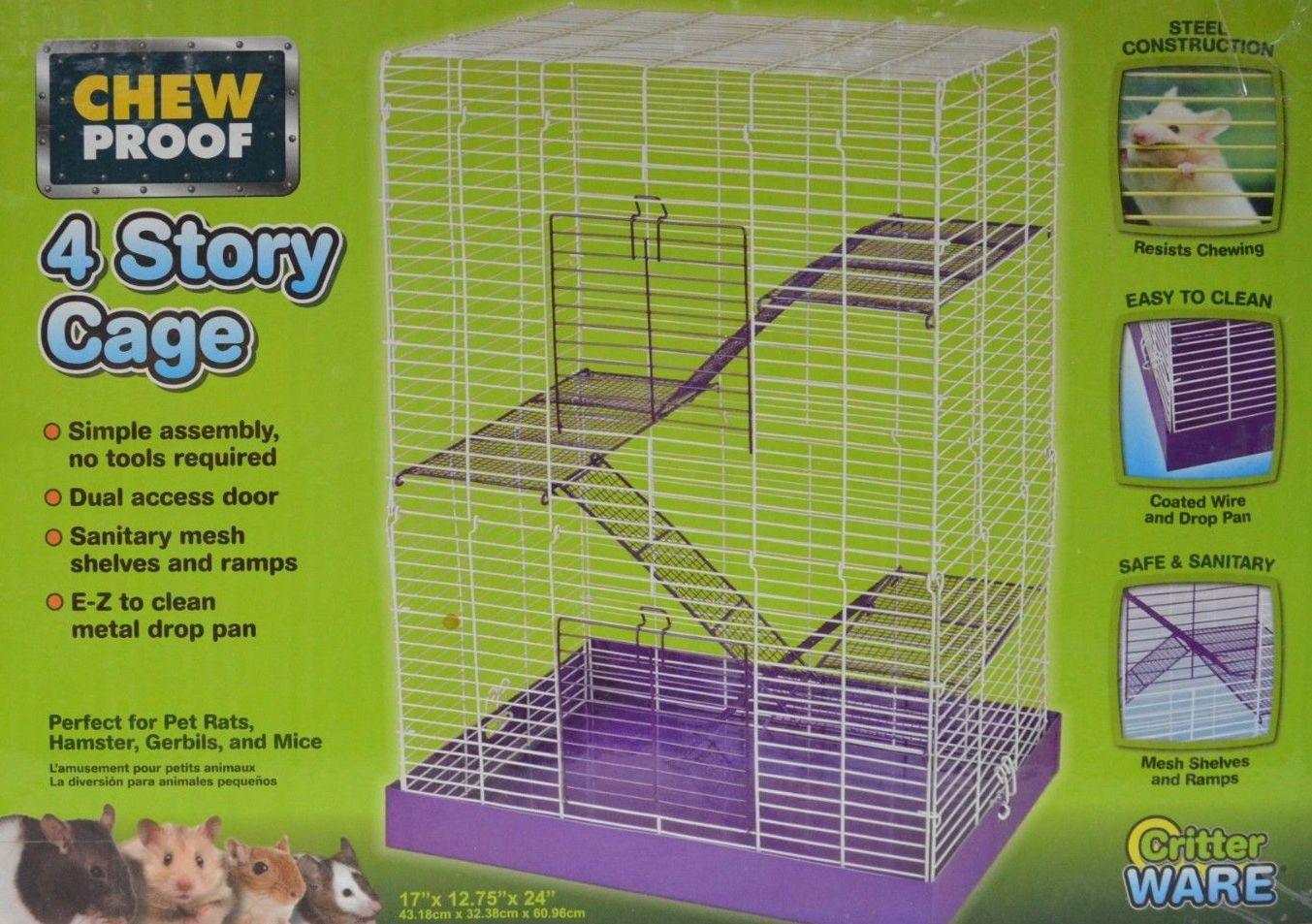 Small Animal Cage Chew Proof 4 Story Tailsnteeth